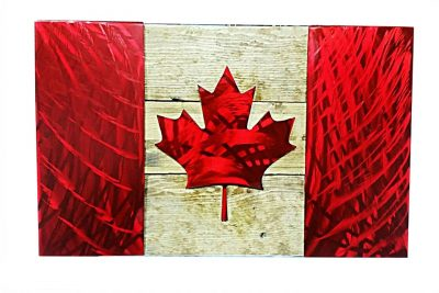 Image of Plasma Cut Steel Canadian Flag in Red Candy Coating on an Aged Wood Backing.