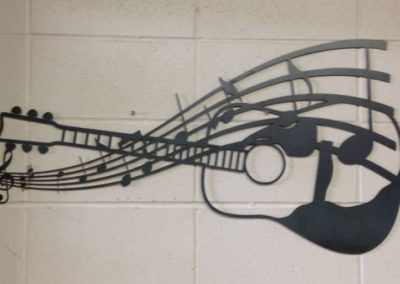 Image of Guitar with music notes - Unpainted